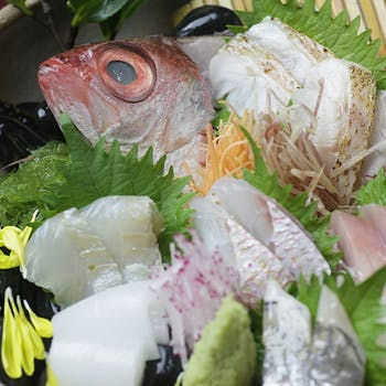 【カウンタ—席×乾杯酒付】鮮魚5種のお造りやのどぐろの塩焼き、金目鯛の煮付けなど全9品〜海コース〜