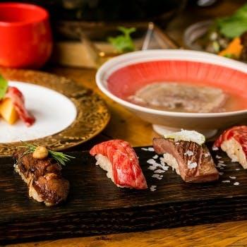 【2019贅沢はじめ】2.5時間飲み放題付!塩トリュフユッケと肉寿司3貫2種類の熟成焼きなど!華プラン