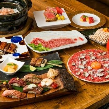 【忘新年会に】2.5時間飲み放題付!肉寿司6貫やすっぽん,とらふぐ,毛ガニと11種類の部位など豪華食材を堪能