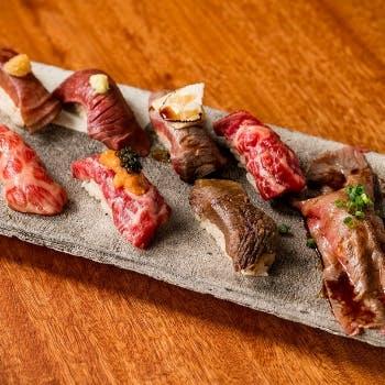 【土日祝ランチ限定】人気の牛肉寿司8貫とトリュフすき焼きの極上セット