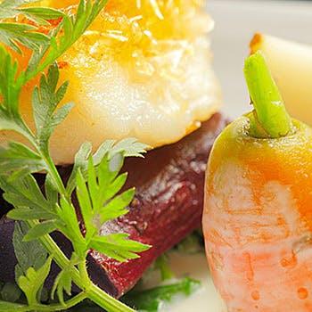 【大地と海の恵みを】無農薬野菜と魚&肉のWメイン、オードブル2種、デザートなど!心に残る一皿を