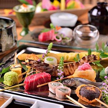 【彩 〜いろどり〜】串揚げ12本、前菜2種、刺身2種、デザートなど全6品!おすすめ串揚げを存分に!