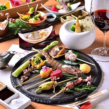 【アップグレード】選べる1ドリンク付!先付、季節の前菜盛、串揚げ10本、デザートなど贅沢に味わう全6品