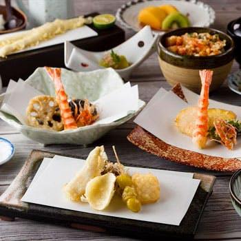 大切な記念日やデートに 音と香り五感で味わう至極の天ぷらコース【桜】スパークリングワイン付き