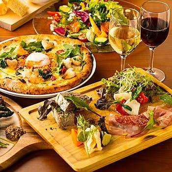 【飲み放題付】窯焼きピッツァ、パスタ、牛ランプ牛にデザート等全9品!旬の味覚をお愉しみください