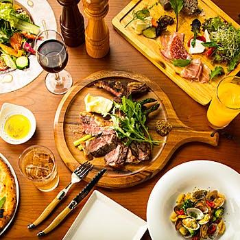 【飲み放題付】冷・温前菜、ピッツァ、厳選肉の薪焼き、デザートなど全8品!絶品イタリア料理を堪能