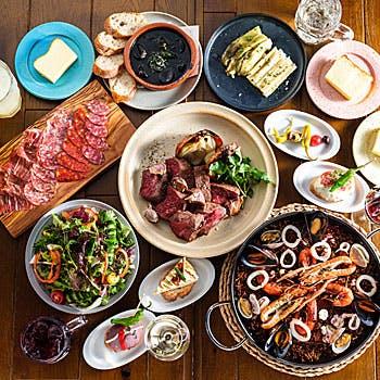 【CARNE】A4黒毛和牛赤身2種薪火グリル、イベリコ豚のおつまみ盛り、選べるお米料理、デザートなど全8品