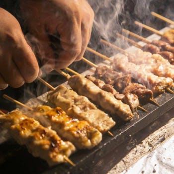 【選べる2ドリンク付松コース全11品】炭火焼鳥串5品、野菜串1品、贅沢食材の特級串1品、蕎麦、デザートなど