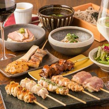 【〜18:00来店限定の特別価格】炭火焼鳥串5本、贅沢食材を使った特級串1本、デザート全11品【松コース】