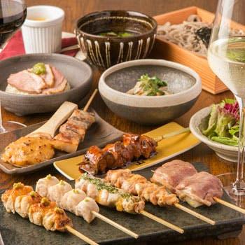 【松コース全11品】炭火焼鳥串5品、野菜串1品、贅沢食材を使った特級串1品、田舎蕎麦、デザートなど