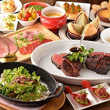 【2時間飲み放題付】牛すね肉のポワレ、厳選グリルステーキ、熟成和牛寿司など熟成肉を堪能する豪華全9品