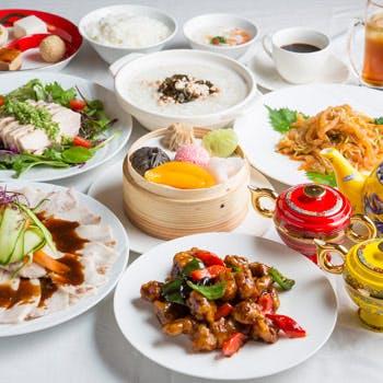 【人気プラン最安値】お料理1品&デザートや前菜、点心が各3種お替自由!中華粥も食べ放題(時間無制限)