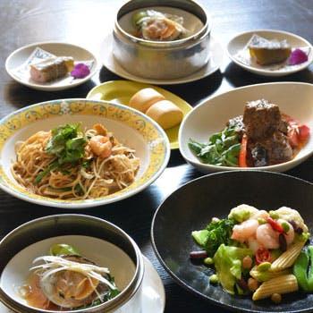 【ブキティマコース】海老と帆立のガドガドサラダ、ホンビノス貝の葱蒸し、シーフードホッケンミー等全6品