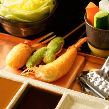 【個室確約】串18本!贅沢な素材を使った上質な串揚げをお食事セット付でご賞味下さい