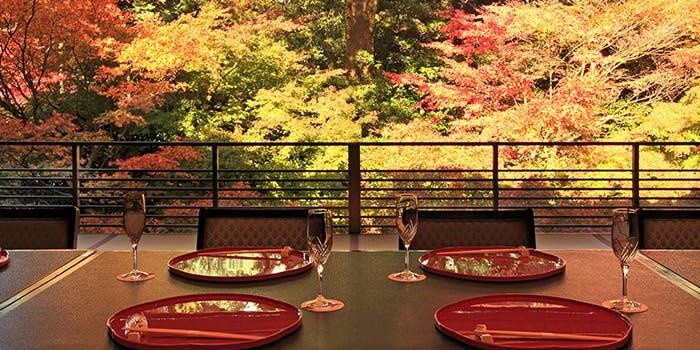 料亭 錦水の一室(懐石盆やグラスがのったテーブル、一面に広がる紅葉)